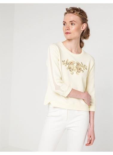 Love'n Fashion Paris Nakış Detaylı Sweatshirt Sarı